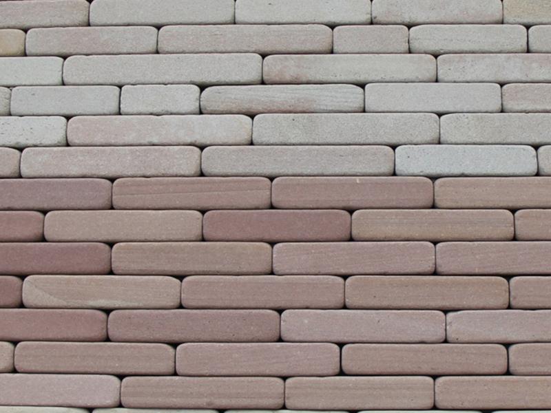 Галтованная плитка из известняка бело-розового